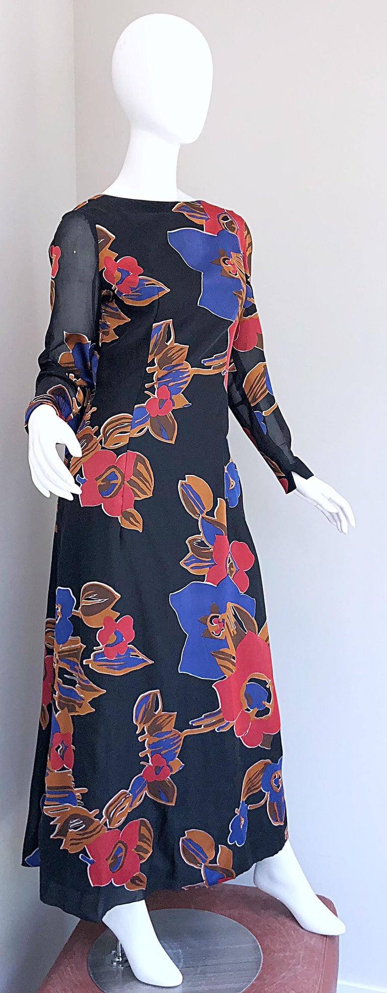 1960s John Boyle Bishop Black + Brown + Red Abstract Trained 60s Gown Maxi Dress For Sale 2