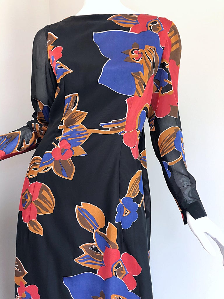 1960s John Boyle Bishop Black + Brown + Red Abstract Trained 60s Gown Maxi Dress For Sale 3
