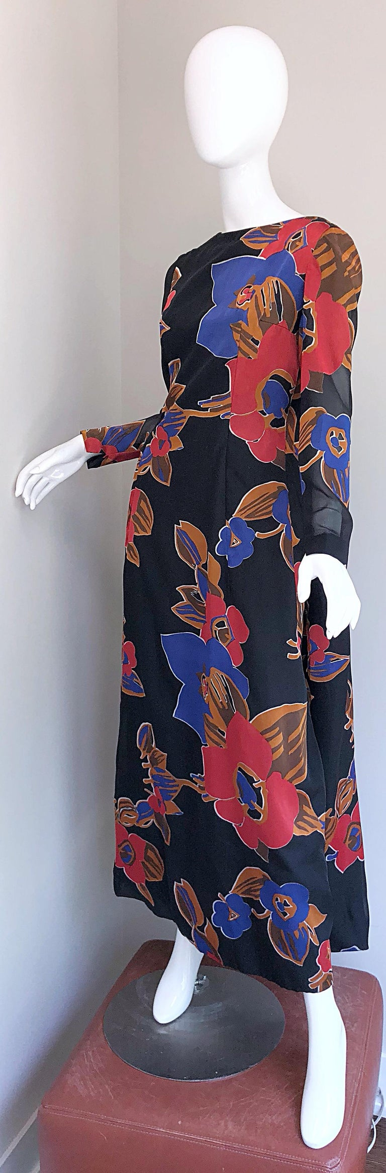 1960s John Boyle Bishop Black + Brown + Red Abstract Trained 60s Gown Maxi Dress For Sale 4