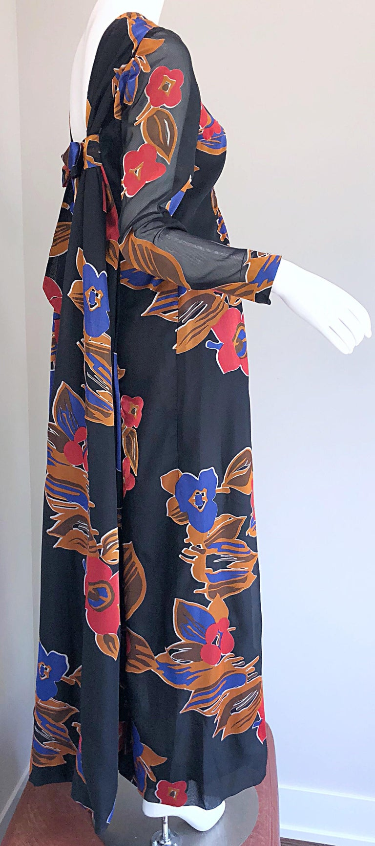 1960s John Boyle Bishop Black + Brown + Red Abstract Trained 60s Gown Maxi Dress For Sale 5