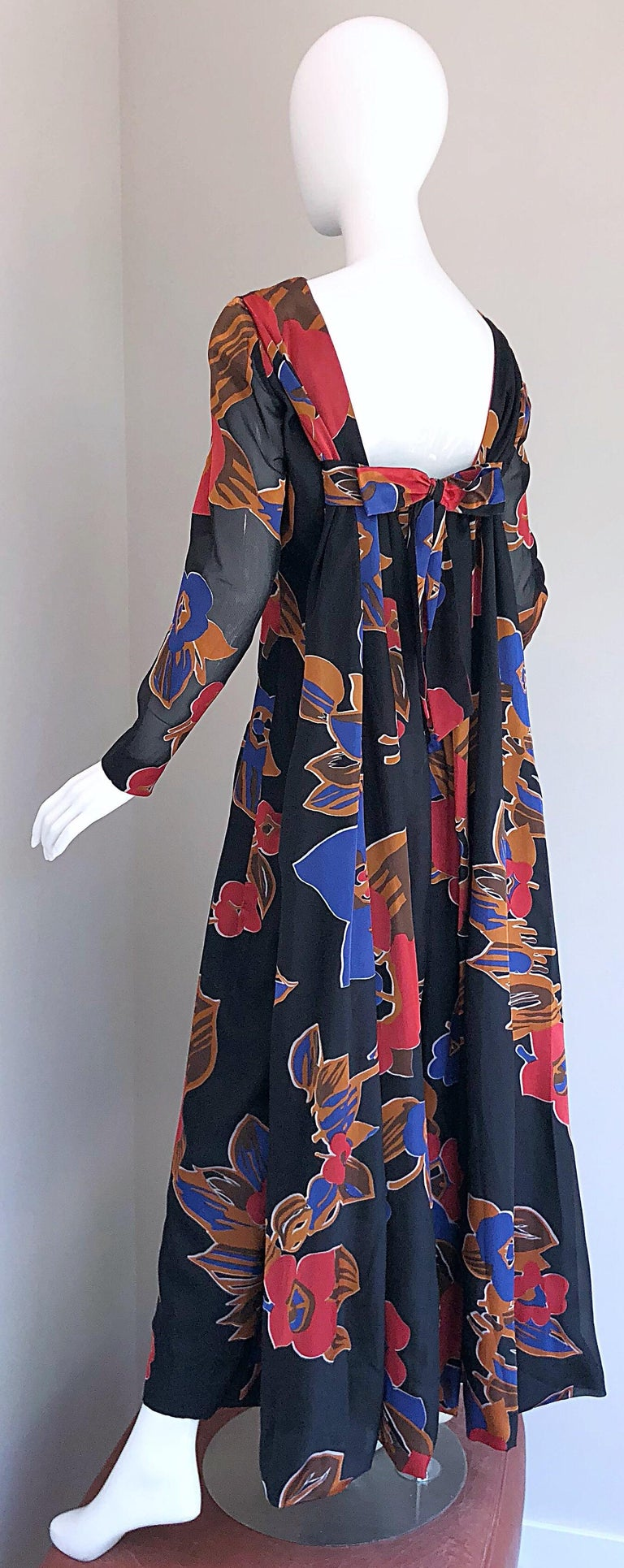 1960s John Boyle Bishop Black + Brown + Red Abstract Trained 60s Gown Maxi Dress For Sale 6