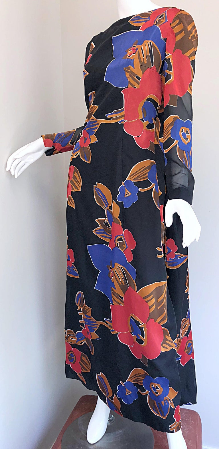 1960s John Boyle Bishop Black + Brown + Red Abstract Trained 60s Gown Maxi Dress For Sale 7