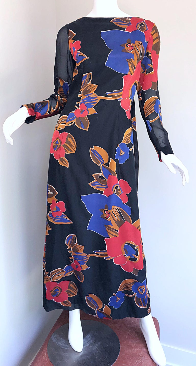 1960s John Boyle Bishop Black + Brown + Red Abstract Trained 60s Gown Maxi Dress For Sale 8