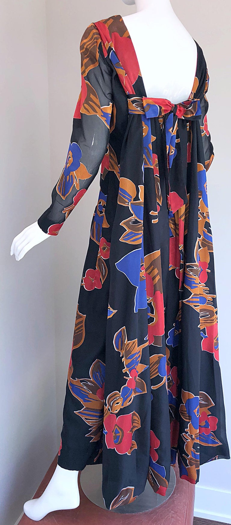 1960s John Boyle Bishop Black + Brown + Red Abstract Trained 60s Gown Maxi Dress For Sale 9