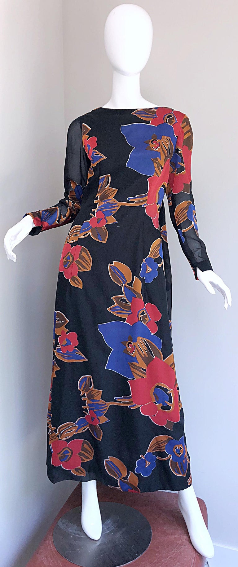 1960s John Boyle Bishop Black + Brown + Red Abstract Trained 60s Gown Maxi Dress For Sale 10