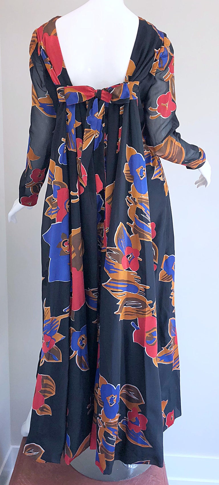 1960s John Boyle Bishop Black + Brown + Red Abstract Trained 60s Gown Maxi Dress For Sale 11