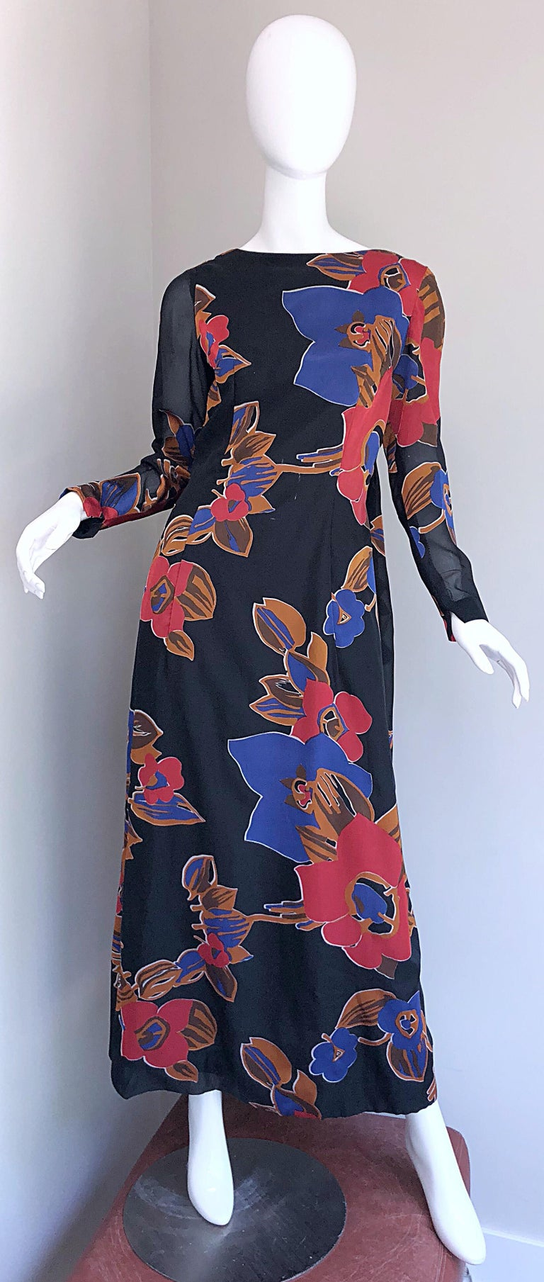 1960s John Boyle Bishop Black + Brown + Red Abstract Trained 60s Gown Maxi Dress For Sale 12