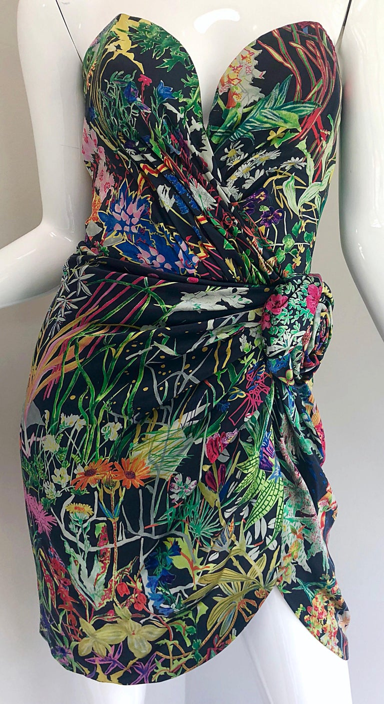 Vintage Vicky Tiel Couture Botanical Print 80s Size 6 / 8 Silk Strapless Dress In Excellent Condition For Sale In Chicago, IL