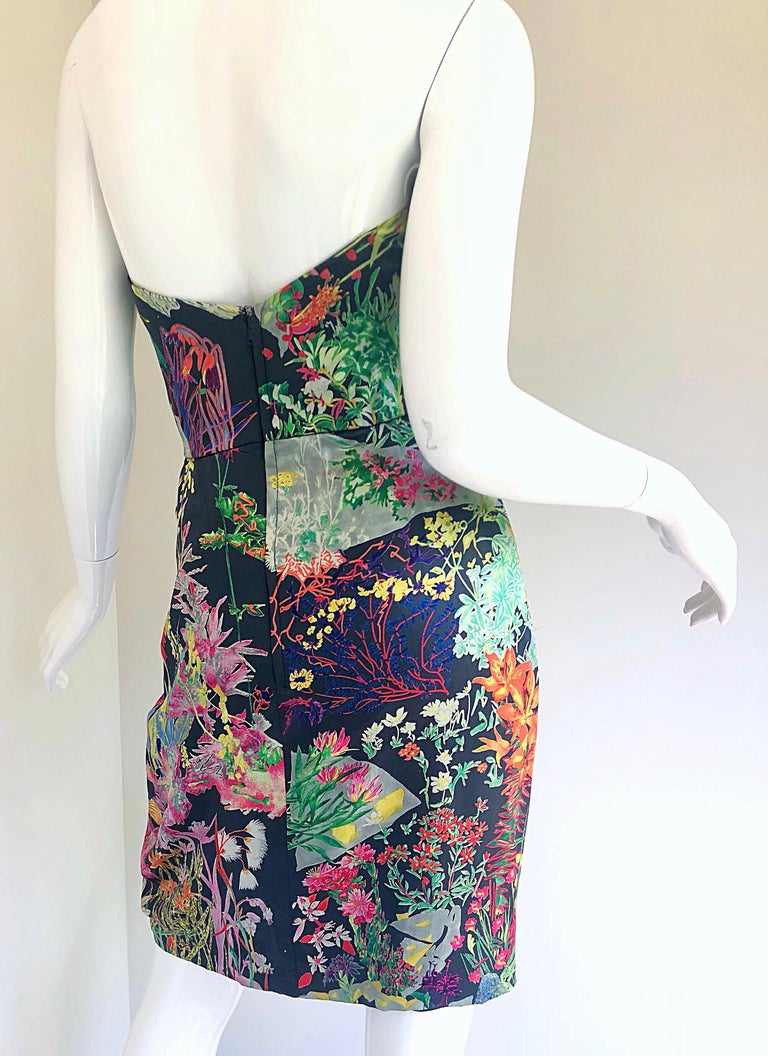 Women's Vintage Vicky Tiel Couture Botanical Print 80s Size 6 / 8 Silk Strapless Dress For Sale