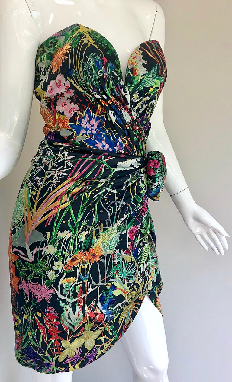 Vintage Vicky Tiel Couture Botanical Print 80s Size 6 / 8 Silk Strapless Dress For Sale 1