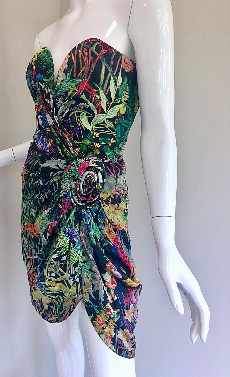 Vintage Vicky Tiel Couture Botanical Print 80s Size 6 / 8 Silk Strapless Dress For Sale 2