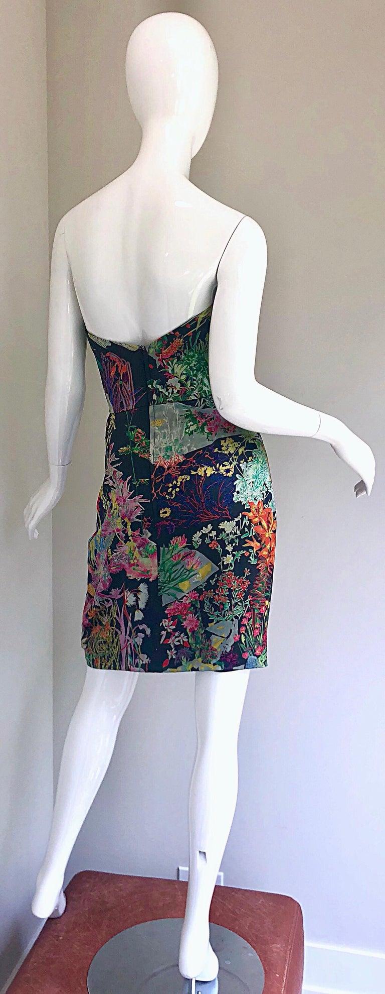 Vintage Vicky Tiel Couture Botanical Print 80s Size 6 / 8 Silk Strapless Dress For Sale 3