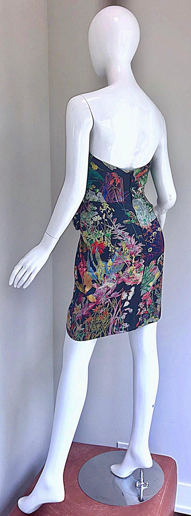 Vintage Vicky Tiel Couture Botanical Print 80s Size 6 / 8 Silk Strapless Dress For Sale 6