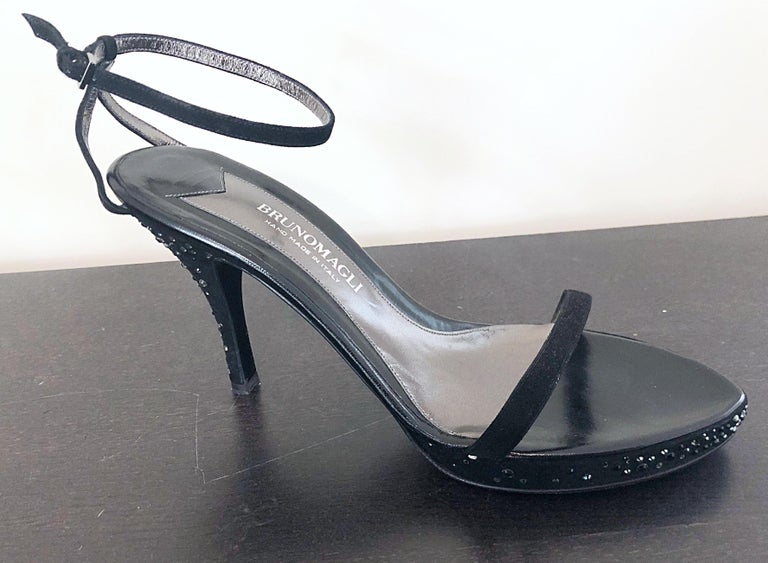 Rare vintage 90s never worn BRUNO MAGLI Size 42 / US 12 black silk rhinestone encrusted high heels! Super hard to find Size 42 (US 12) ! Features shiny silver and black rhinestones allover the high heel, and outter soles of the heel and sides.