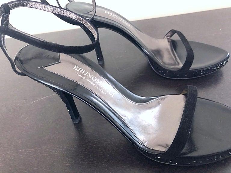 Never Worn 1990s Bruno Magli Size 12 / 42 Black Rhinestone Strappy High Heels For Sale 2
