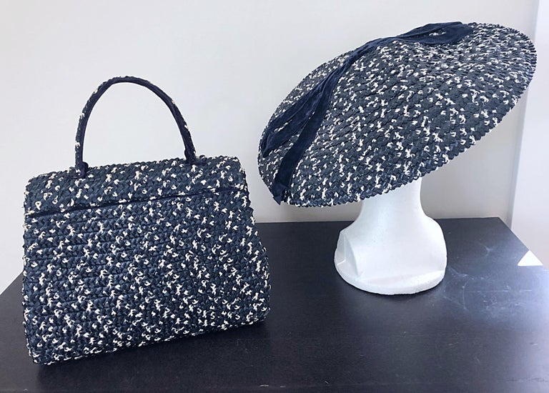 1950s Black and White Pearl Encrusted Vintage 50s Saucer Hat and Purse Bag In Excellent Condition For Sale In Chicago, IL