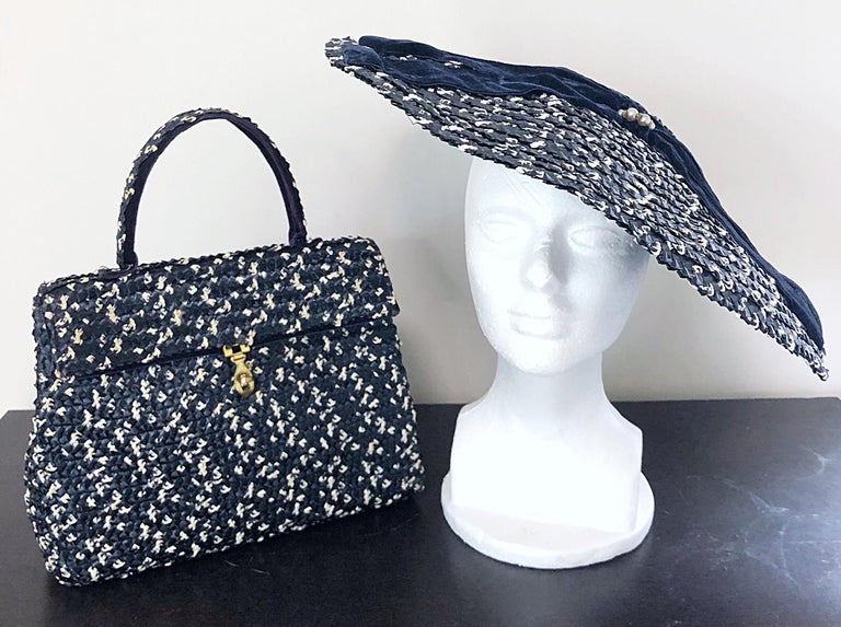 Women's 1950s Black and White Pearl Encrusted Vintage 50s Saucer Hat and Purse Bag For Sale