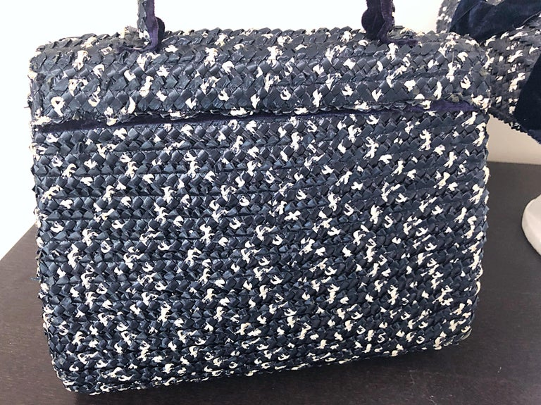 1950s Black and White Pearl Encrusted Vintage 50s Saucer Hat and Purse Bag For Sale 5