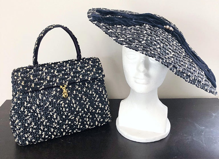 1950s Black and White Pearl Encrusted Vintage 50s Saucer Hat and Purse Bag For Sale 8
