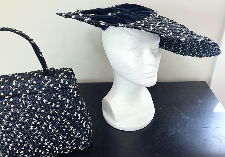 1950s Black and White Pearl Encrusted Vintage 50s Saucer Hat and Purse Bag For Sale 9