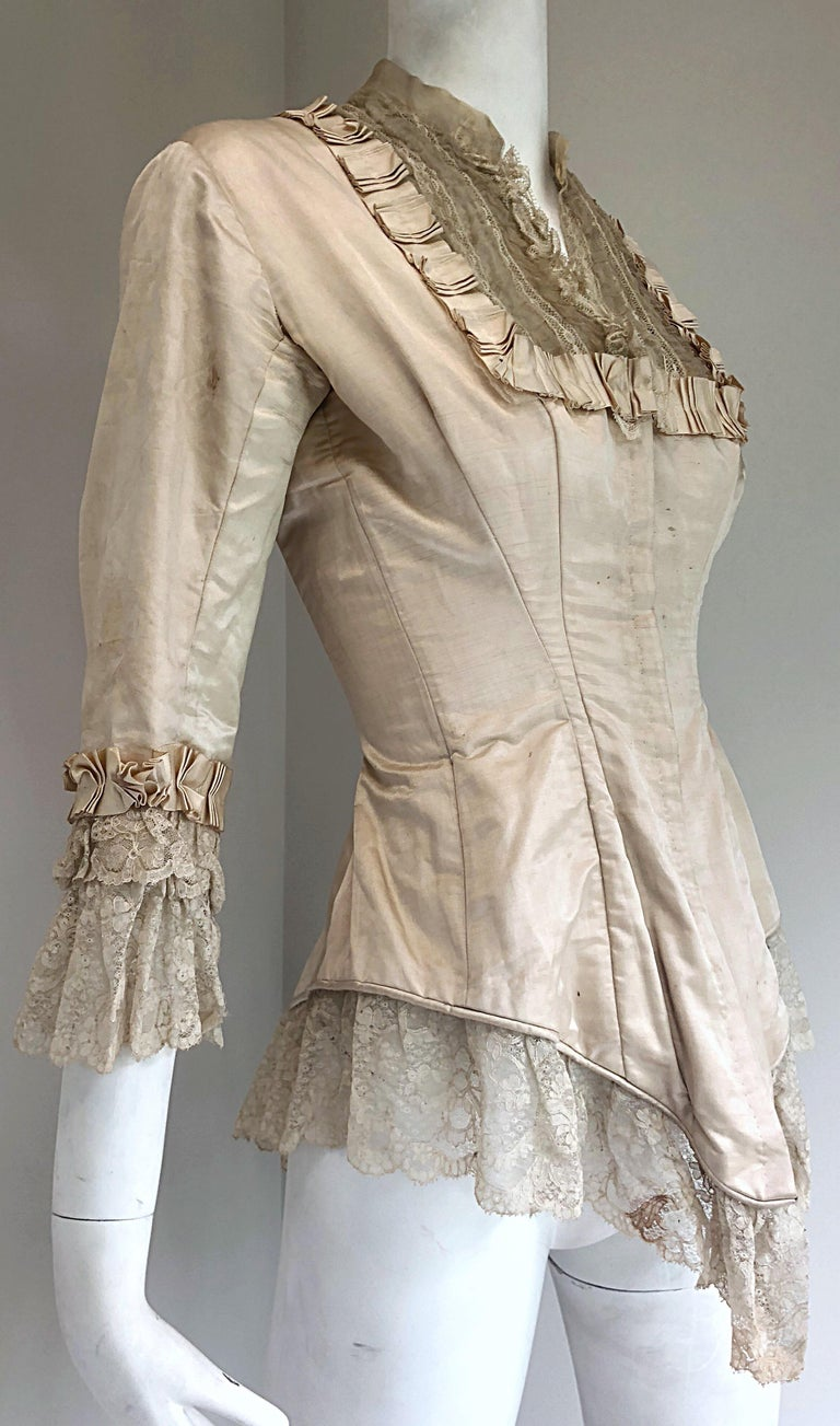 Incredible Authentic Victorian 1880s Ivory Silk Lace Corset 1800s Couture Blouse For Sale 2
