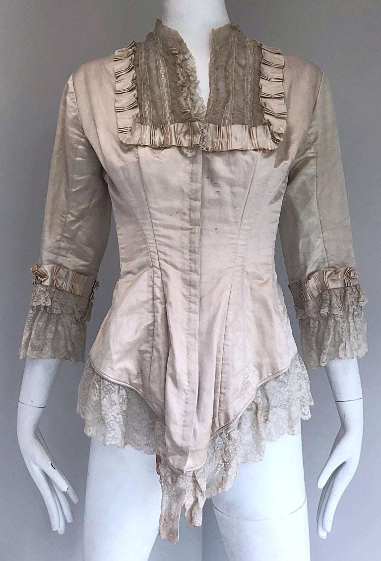 Incredible Authentic Victorian 1880s Ivory Silk Lace Corset 1800s Couture Blouse For Sale 3