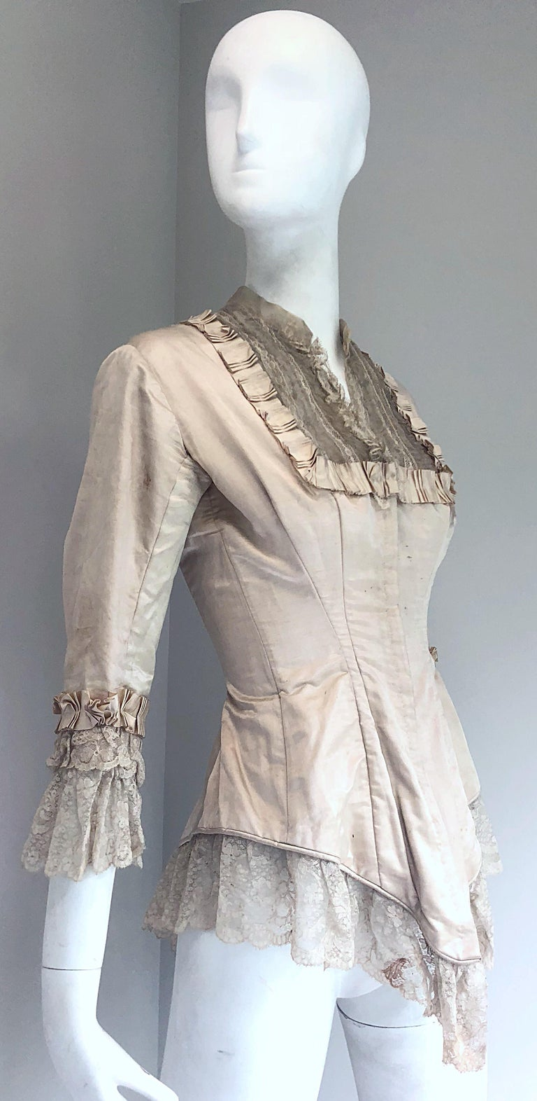 Incredible Authentic Victorian 1880s Ivory Silk Lace Corset 1800s Couture Blouse For Sale 6
