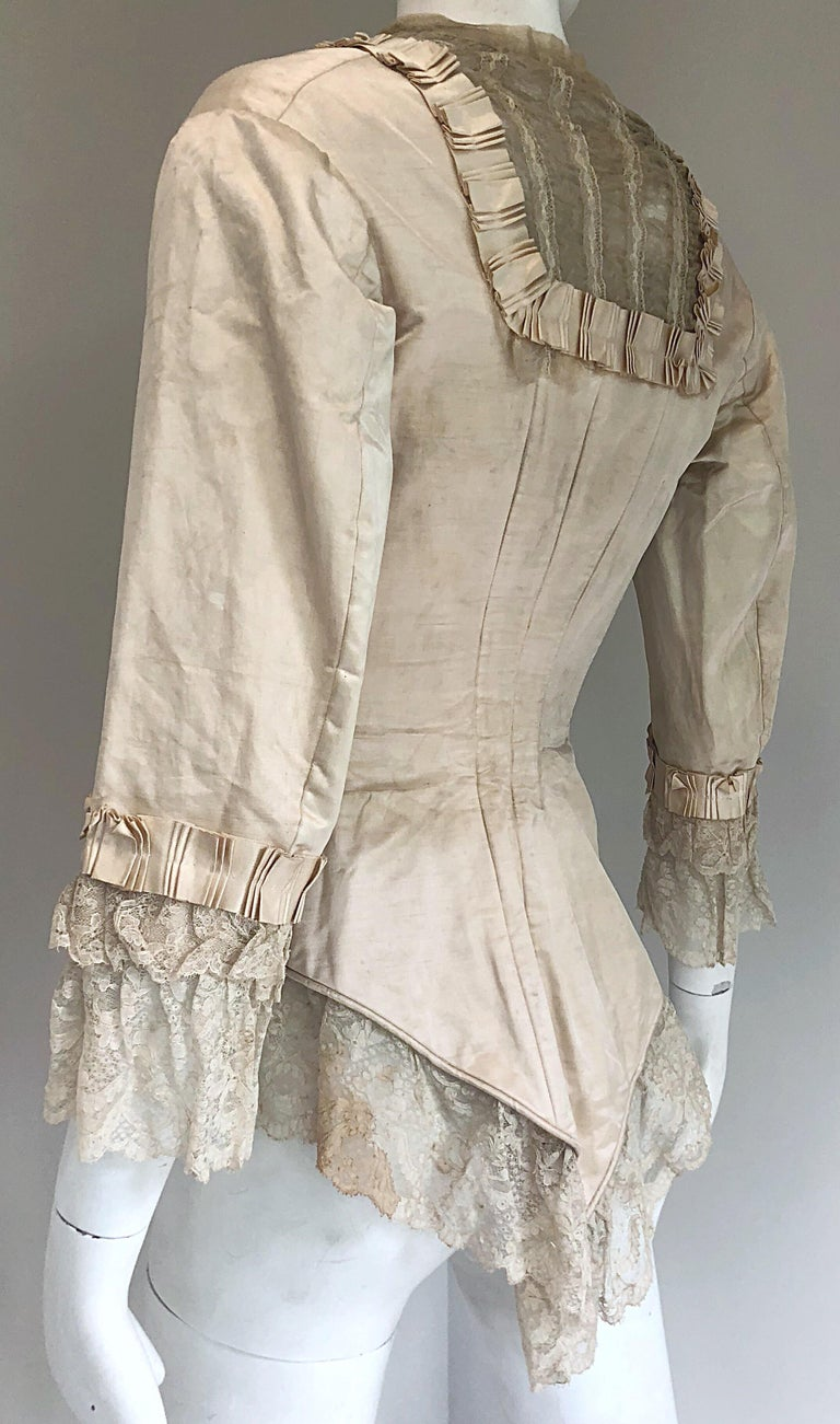 Incredible Authentic Victorian 1880s Ivory Silk Lace Corset 1800s Couture Blouse For Sale 7