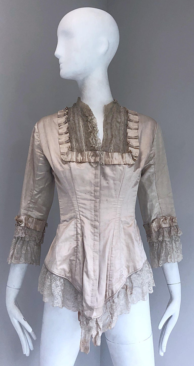 Incredible Authentic Victorian 1880s Ivory Silk Lace Corset 1800s Couture Blouse For Sale 8