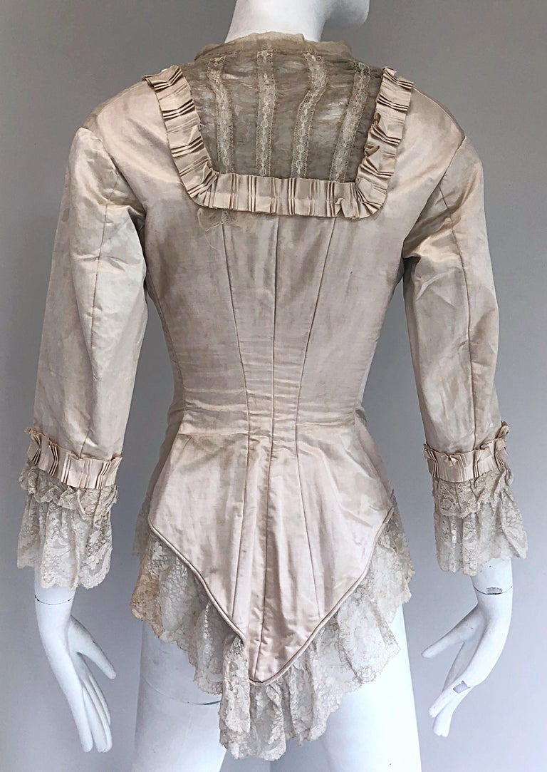 Incredible Authentic Victorian 1880s Ivory Silk Lace Corset 1800s Couture Blouse For Sale 9