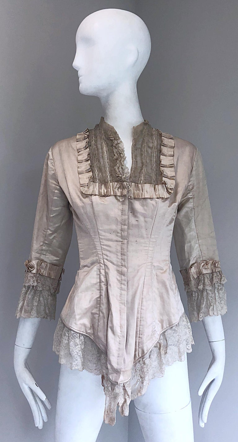 Incredible Authentic Victorian 1880s Ivory Silk Lace Corset 1800s Couture Blouse For Sale 12