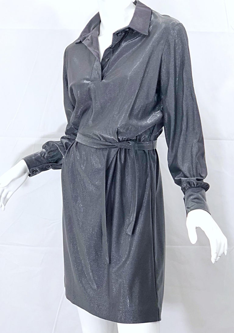 1970s Gunmetal Metallic Silver Gray Belted Vintage 70s Long Sleeve Shirt Dress In Excellent Condition For Sale In Chicago, IL