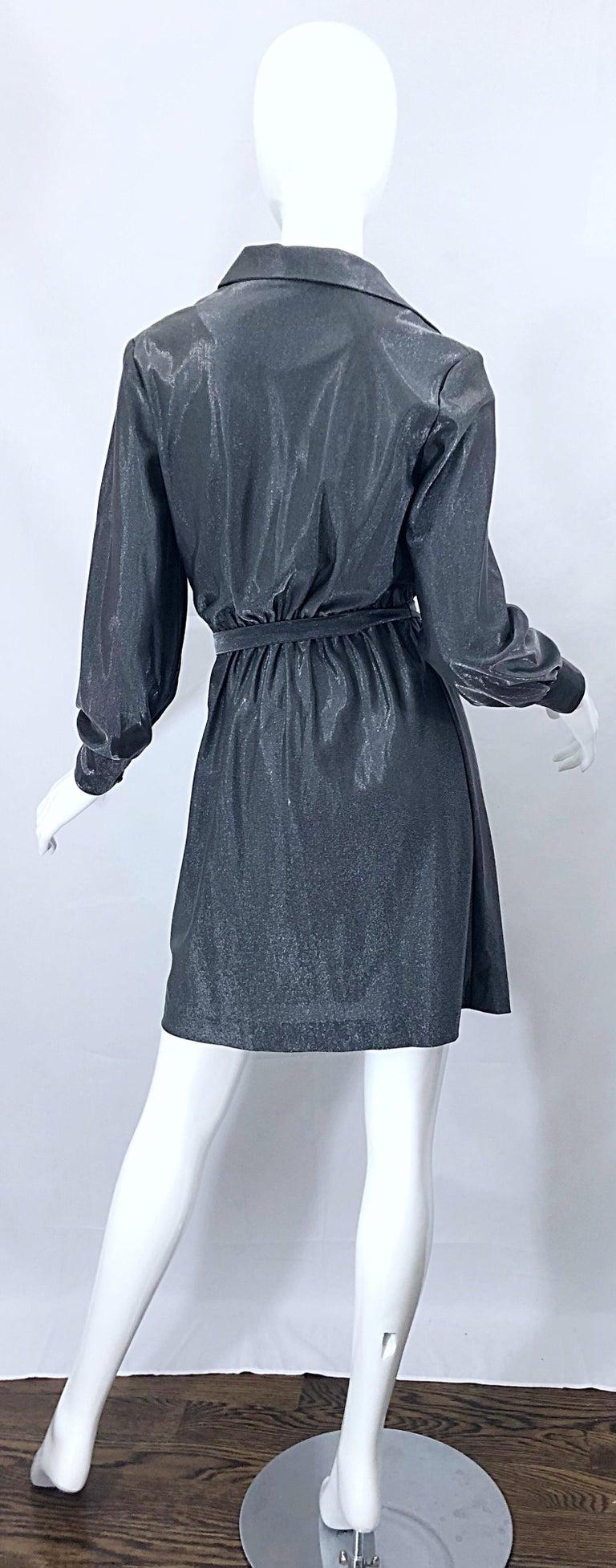 1970s Gunmetal Metallic Silver Gray Belted Vintage 70s Long Sleeve Shirt Dress For Sale 1