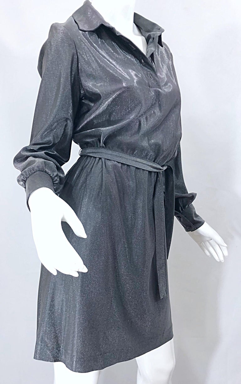 1970s Gunmetal Metallic Silver Gray Belted Vintage 70s Long Sleeve Shirt Dress For Sale 2