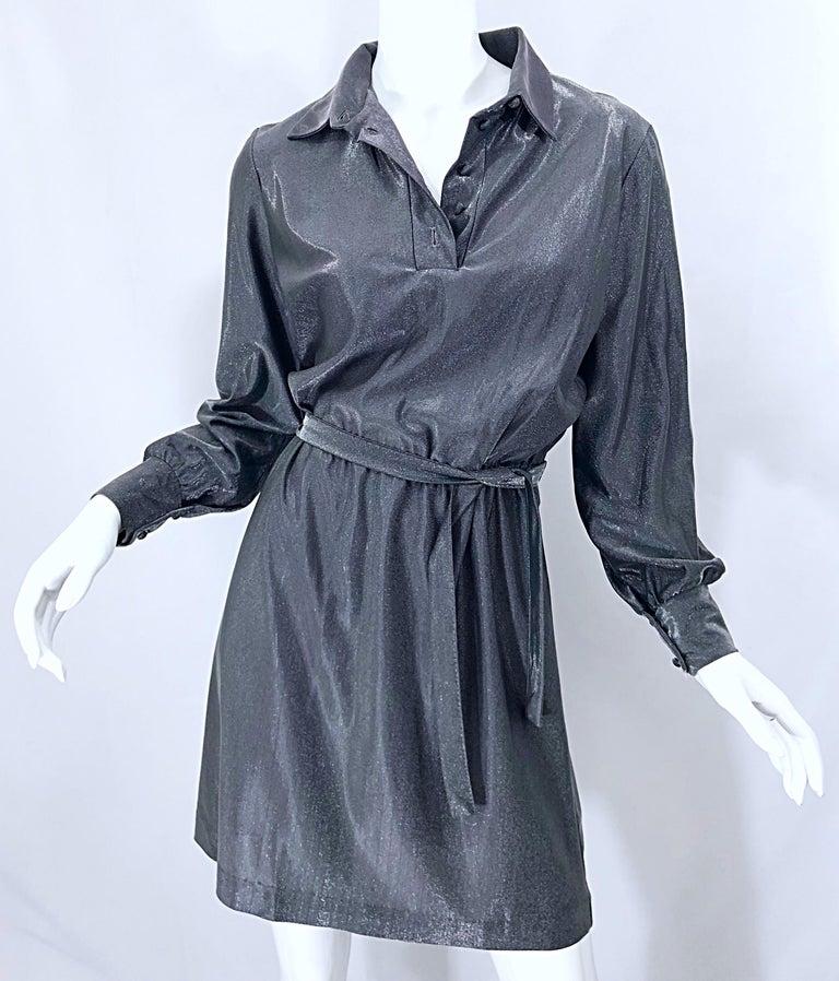 1970s Gunmetal Metallic Silver Gray Belted Vintage 70s Long Sleeve Shirt Dress For Sale 3