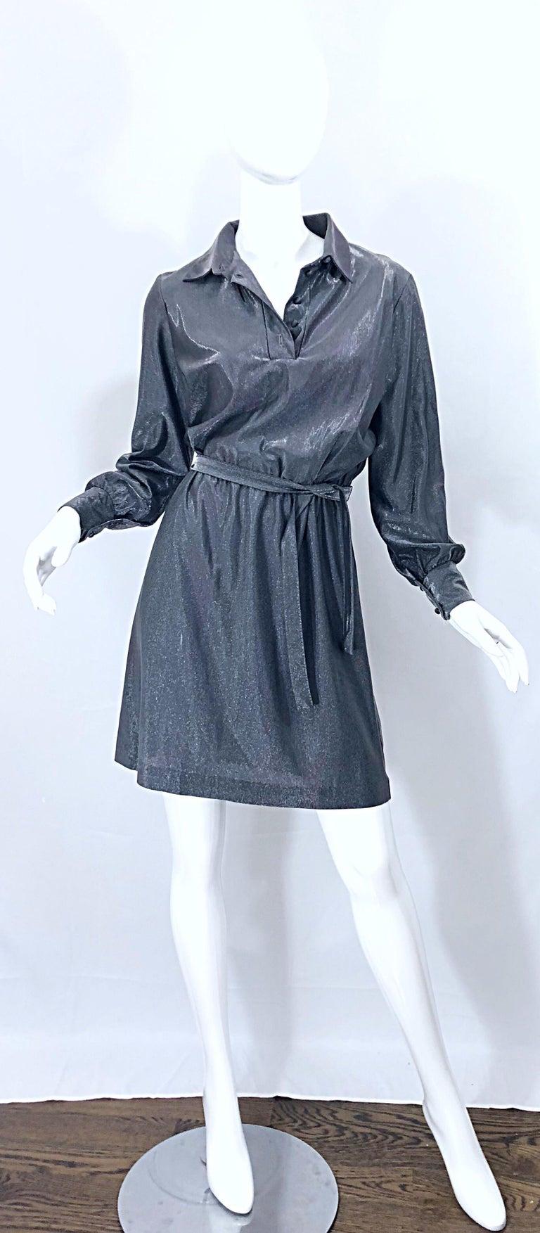 1970s Gunmetal Metallic Silver Gray Belted Vintage 70s Long Sleeve Shirt Dress For Sale 4