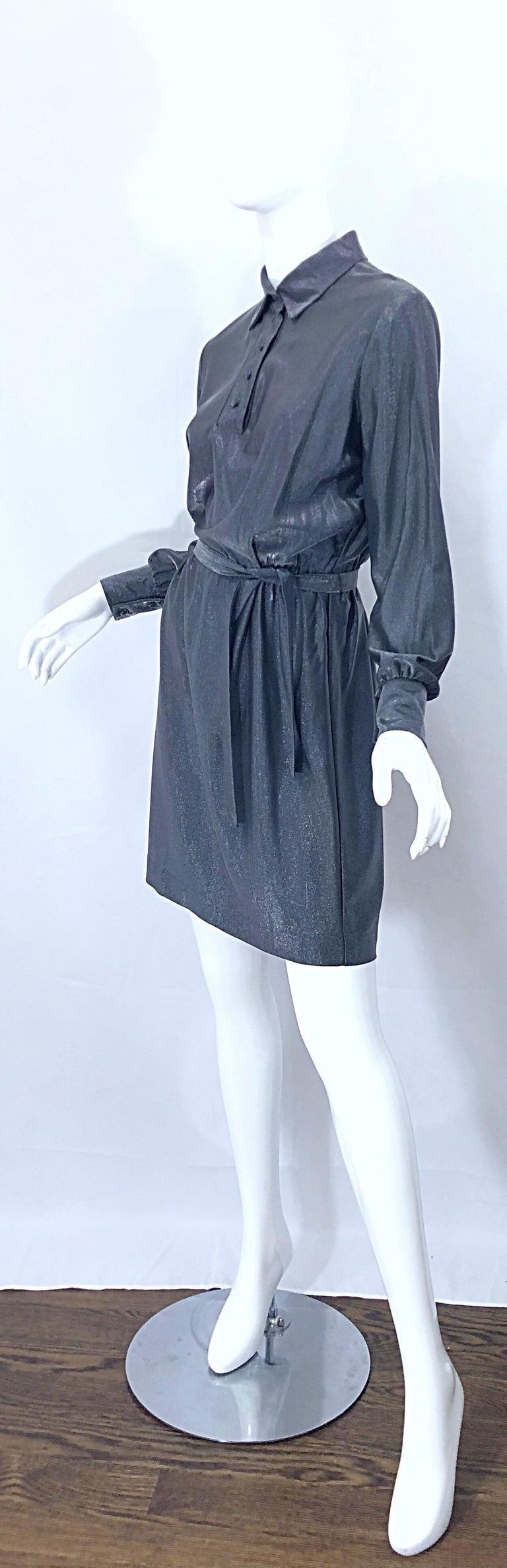 1970s Gunmetal Metallic Silver Gray Belted Vintage 70s Long Sleeve Shirt Dress For Sale 5