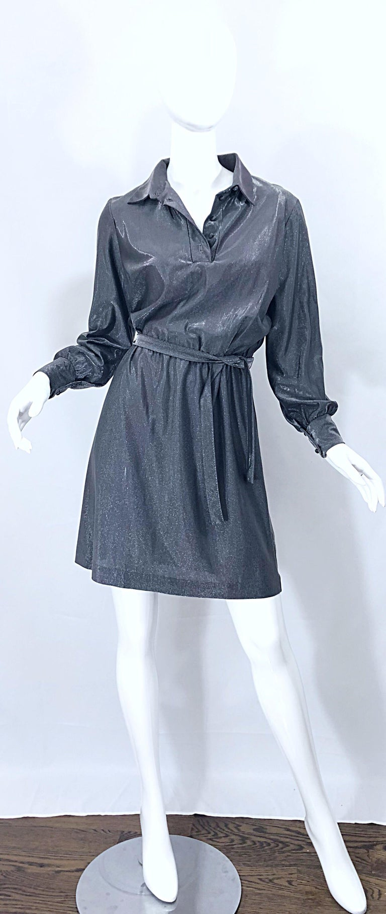 1970s Gunmetal Metallic Silver Gray Belted Vintage 70s Long Sleeve Shirt Dress For Sale 6