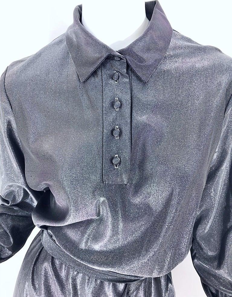 1970s Gunmetal Metallic Silver Gray Belted Vintage 70s Long Sleeve Shirt Dress For Sale 7