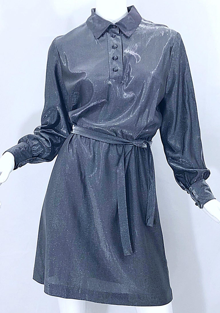 1970s Gunmetal Metallic Silver Gray Belted Vintage 70s Long Sleeve Shirt Dress For Sale 9