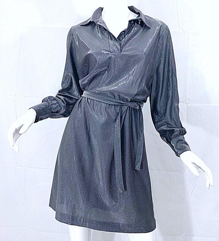 1970s Gunmetal Metallic Silver Gray Belted Vintage 70s Long Sleeve Shirt Dress For Sale 10