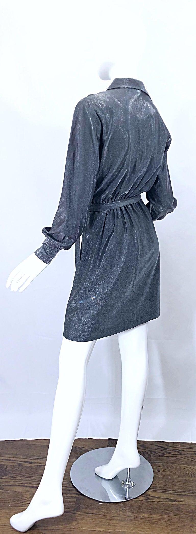 1970s Gunmetal Metallic Silver Gray Belted Vintage 70s Long Sleeve Shirt Dress For Sale 11