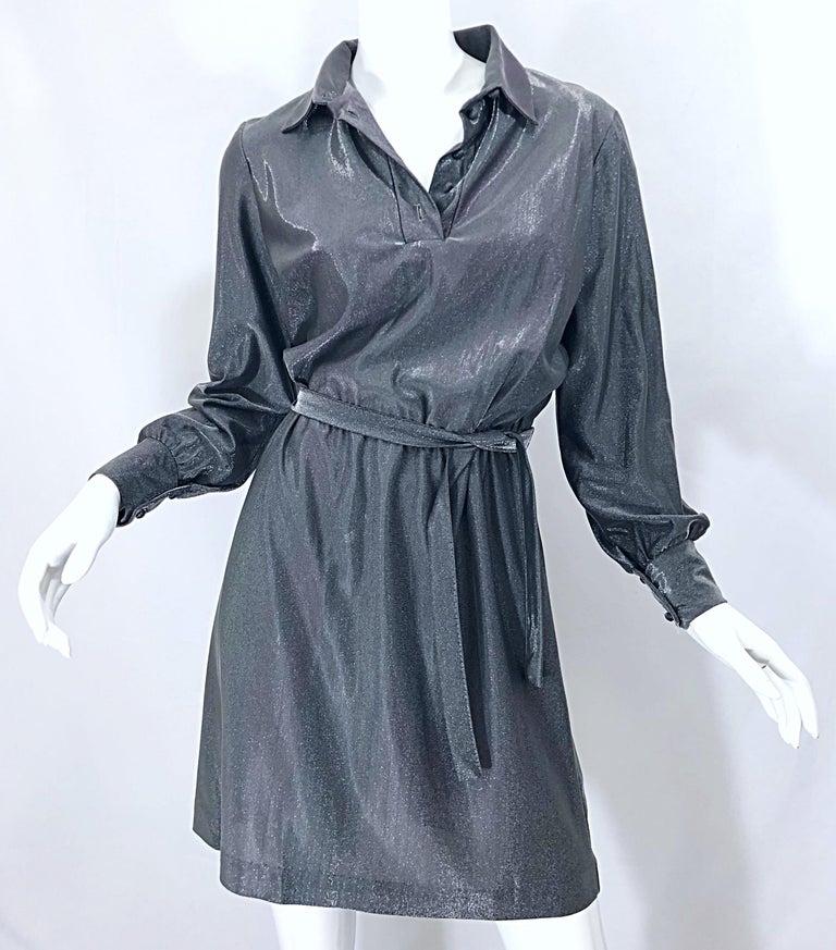 1970s Gunmetal Metallic Silver Gray Belted Vintage 70s Long Sleeve Shirt Dress For Sale 12
