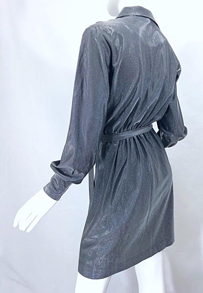 1970s Gunmetal Metallic Silver Gray Belted Vintage 70s Long Sleeve Shirt Dress For Sale 13