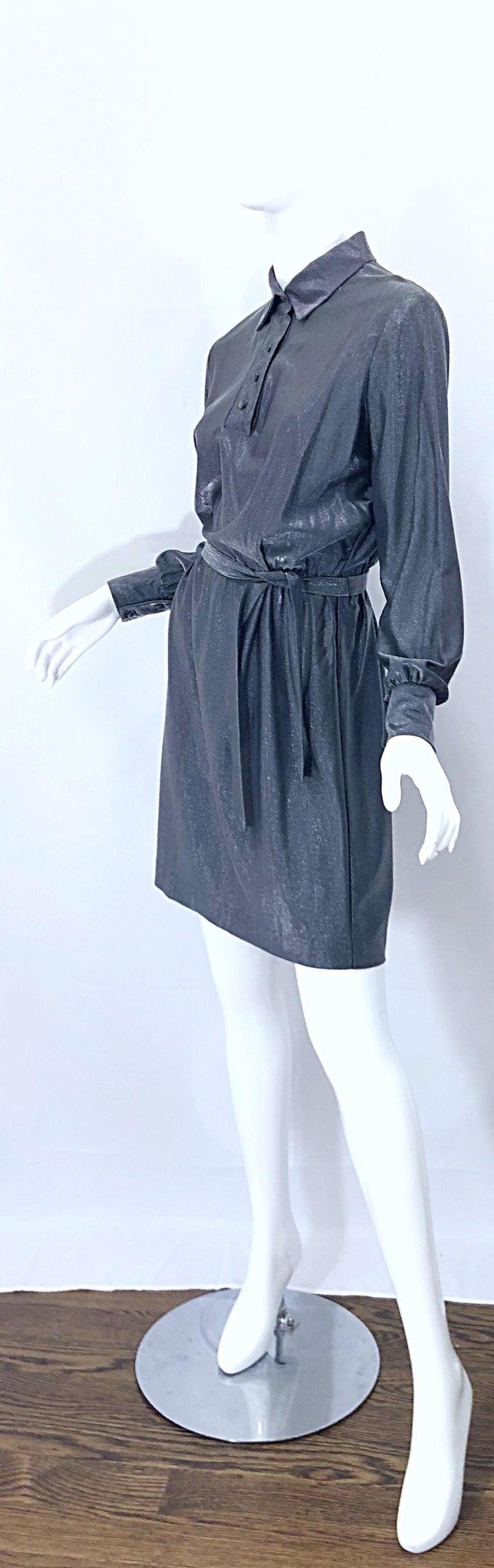 1970s Gunmetal Metallic Silver Gray Belted Vintage 70s Long Sleeve Shirt Dress For Sale 14