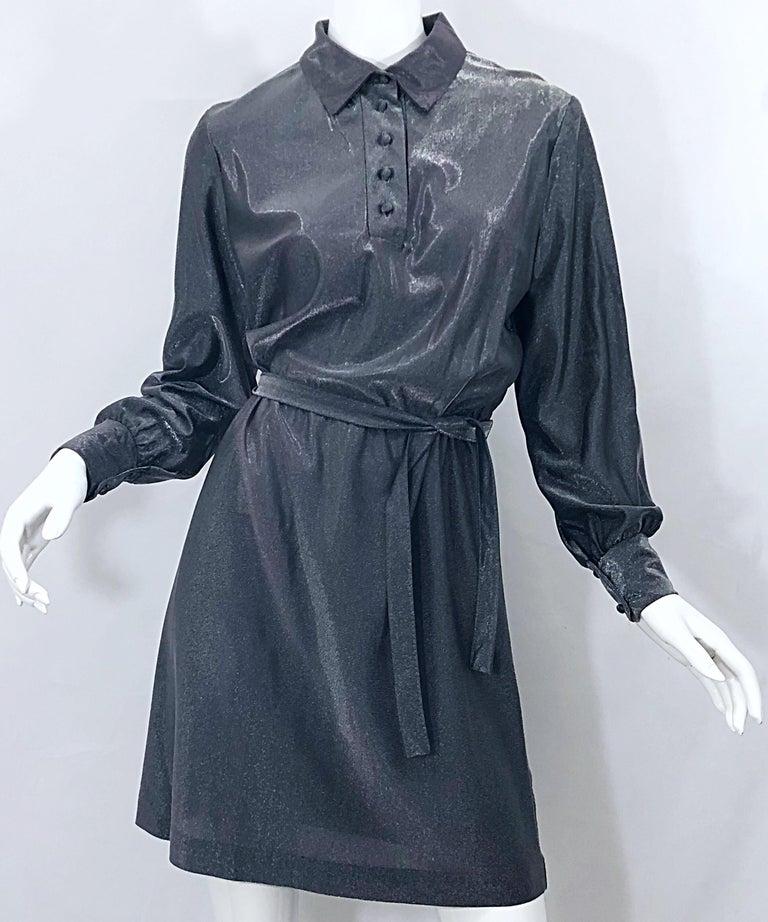 1970s Gunmetal Metallic Silver Gray Belted Vintage 70s Long Sleeve Shirt Dress For Sale 15