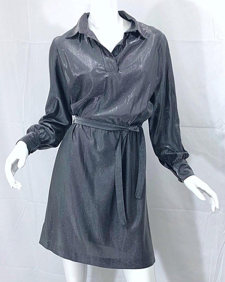 1970s Gunmetal Metallic Silver Gray Belted Vintage 70s Long Sleeve Shirt Dress For Sale 16