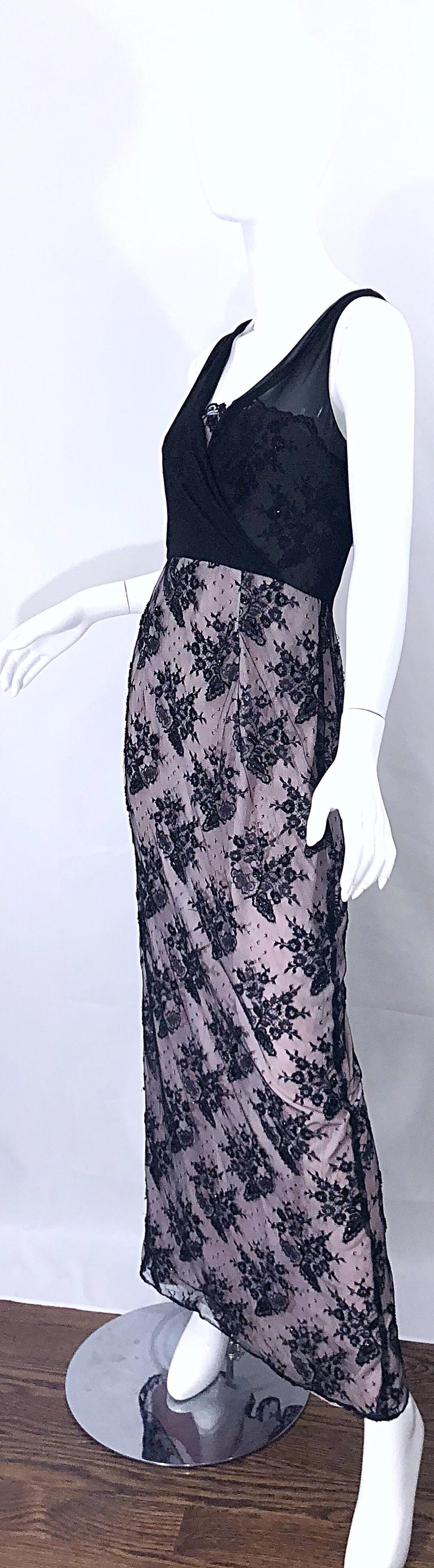 Women's Vintage Bob Mackie Size 8 / 10 Black and Pink Beaded French Lace Evening Gown For Sale