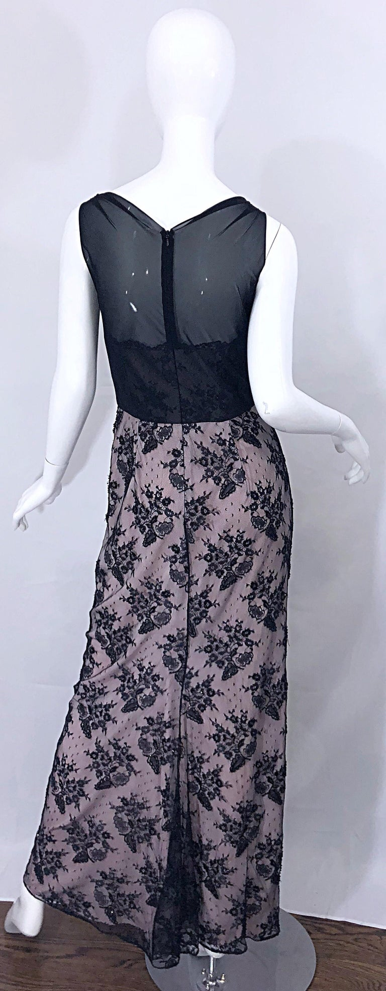 Vintage Bob Mackie Size 8 / 10 Black and Pink Beaded French Lace Evening Gown For Sale 1