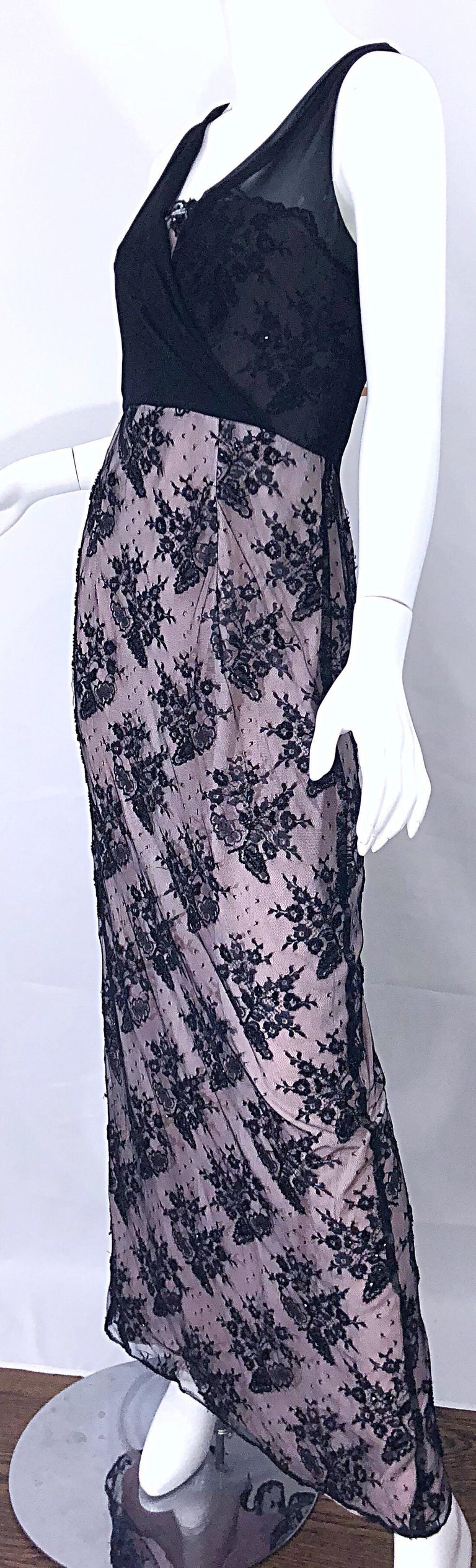 Vintage Bob Mackie Size 8 / 10 Black and Pink Beaded French Lace Evening Gown For Sale 4